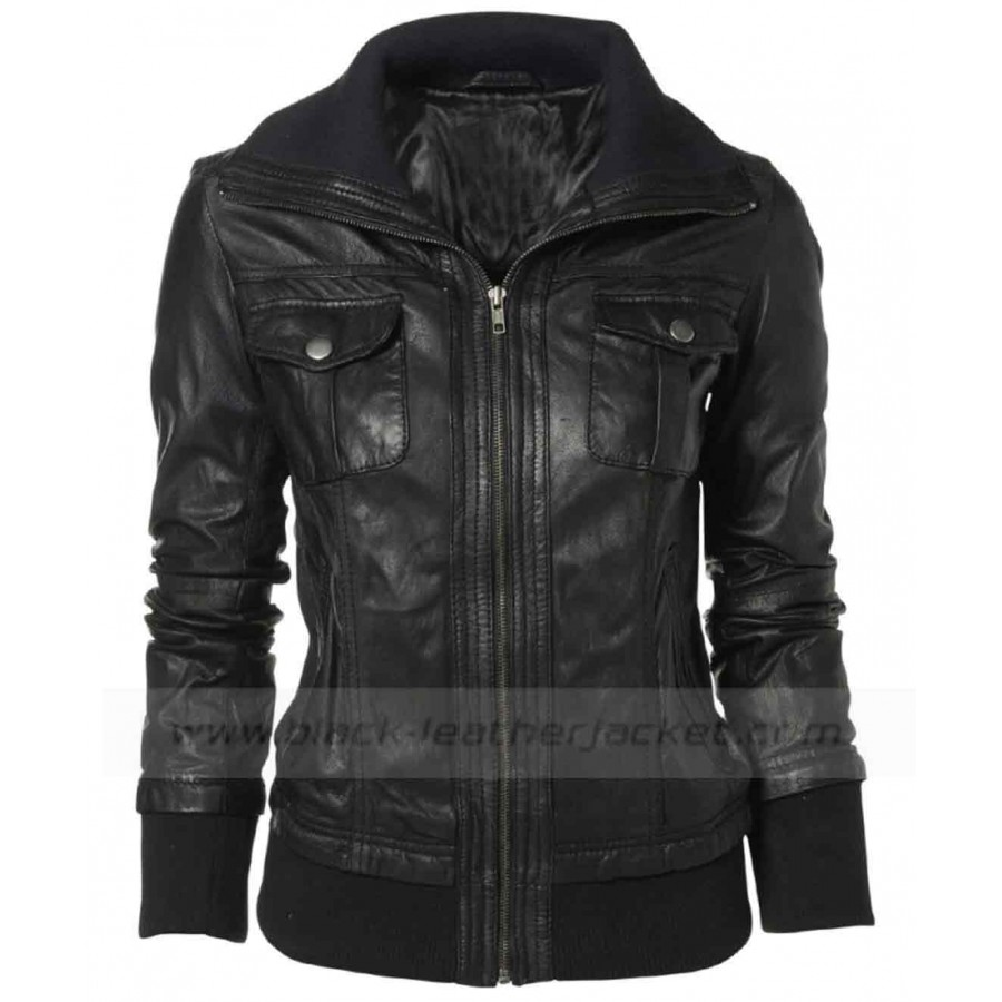 black jackets for women double collar black leather bomber jacket women WKXYJSE