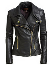 black jackets for women item 5 new womenu0027s black slim fit biker style moto real leather jacket -new womenu0027s DVVLVGF