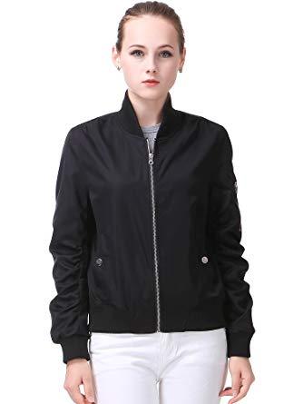 black jackets for women miya classic flight jacket short bomber jacket women coat, black, large AQUJCKU