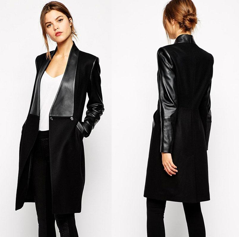 black jackets for women winter jacket women gagaopt pu leather long coat european style women  winter coat black XVVDOMI