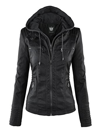 black jackets for women wjc663 womens removable hoodie motorcyle jacket xs black KRFFQSH