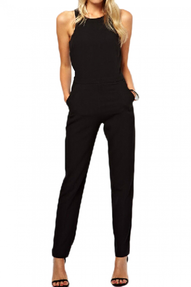 black jumpsuits abaday cut-out sleeveless slim black jumpsuit ZVFTKMI