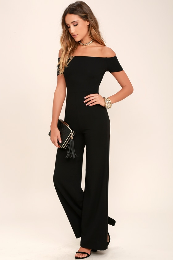 black jumpsuits alleyoop black off-the-shoulder jumpsuit VZOVYMO