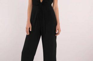 black jumpsuits annabelle black knot front jumpsuit ... BCISGWL