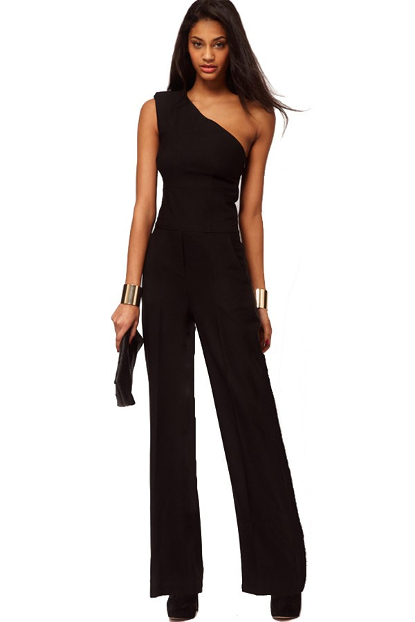 black jumpsuits black one shoulder chic jumpsuit TKJNQZW