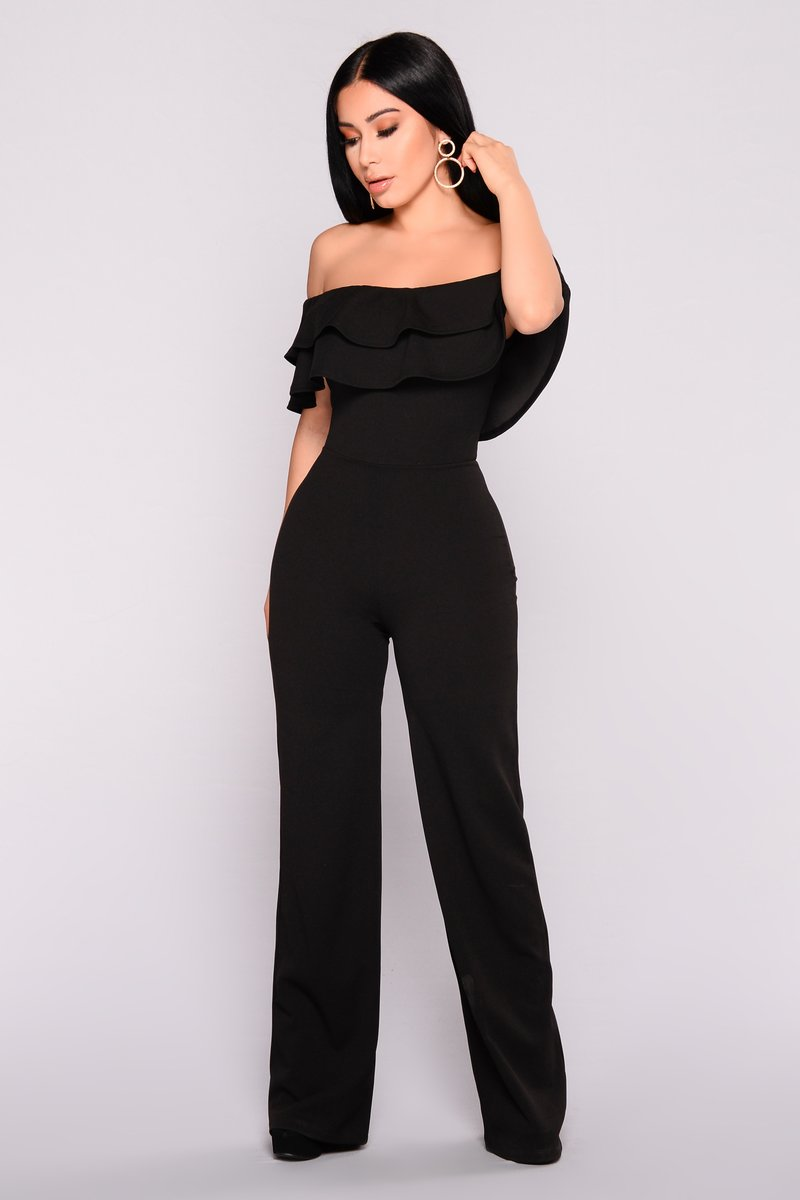 black jumpsuits ready to ruffle jumpsuit - black NRLITLG