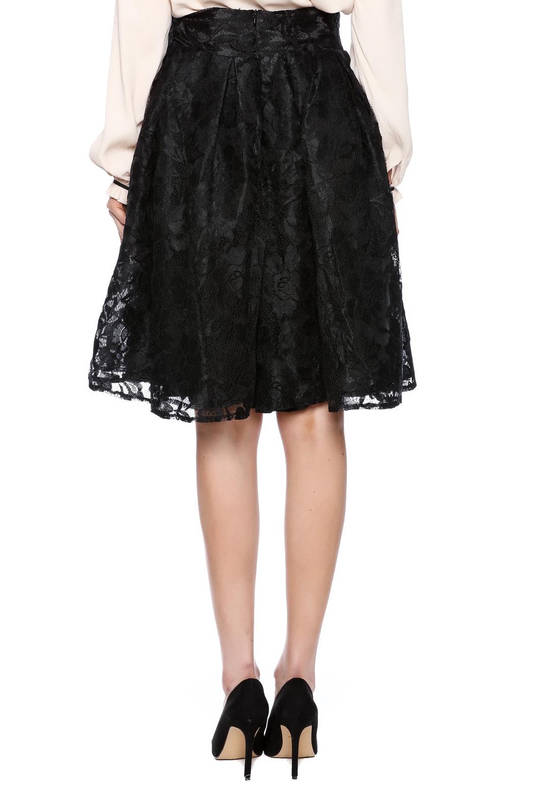black lace skirt kikiriki black lace a-line skirt - back cropped image BVDABON