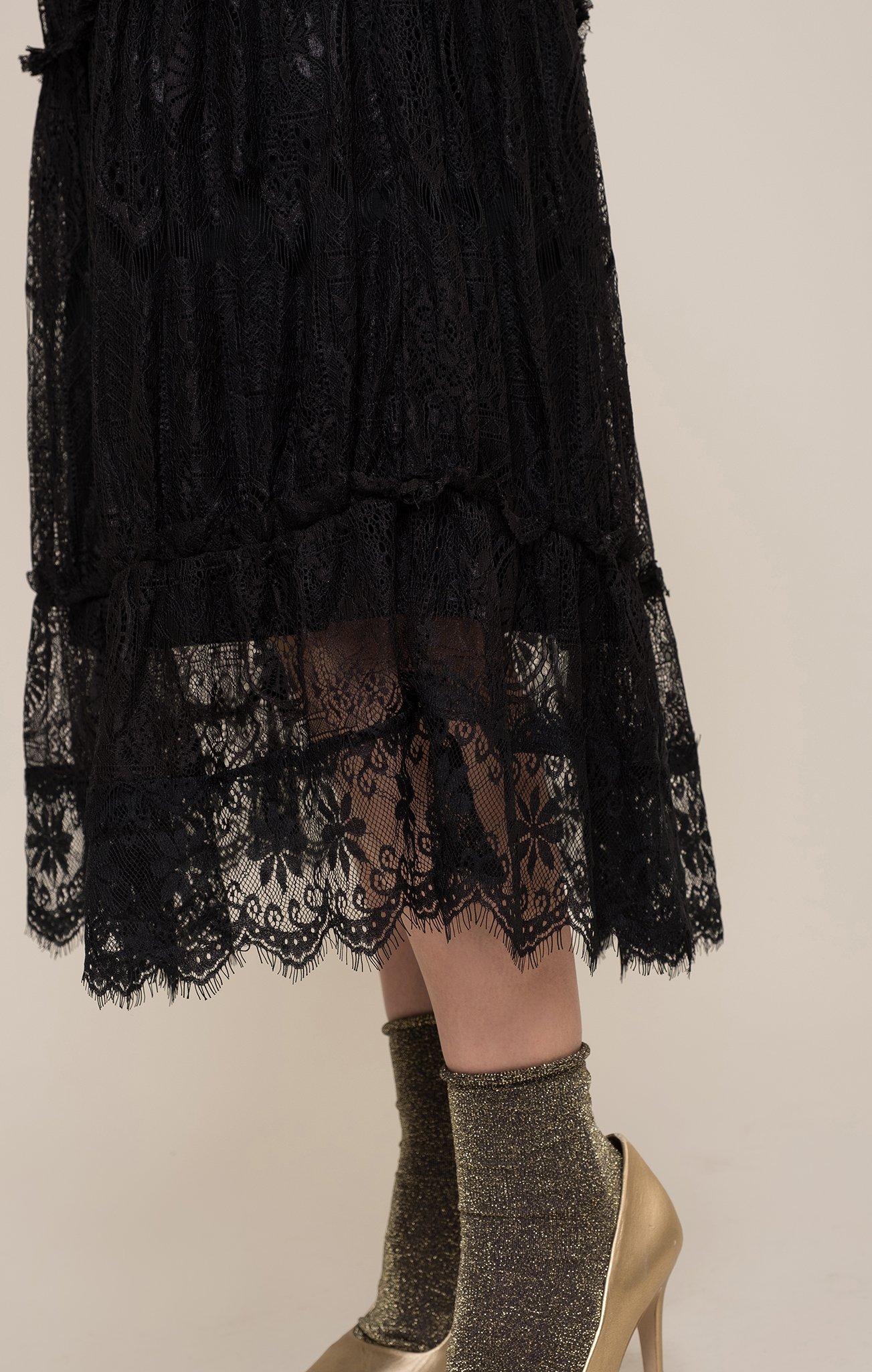 black lace skirt tiered lace midi skirt HRVTZKX