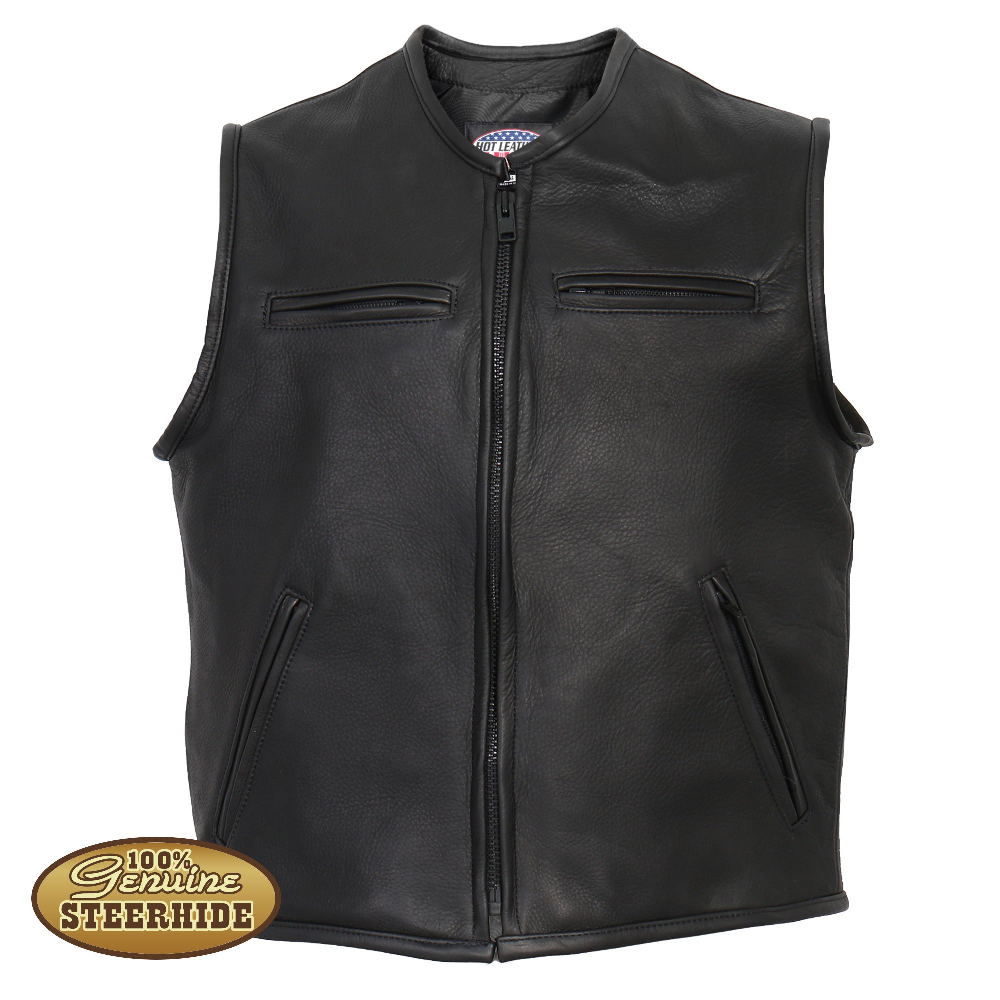 black leather vest hot leathers menu0027s usa made premium steerhide leather vest FYLKTGM