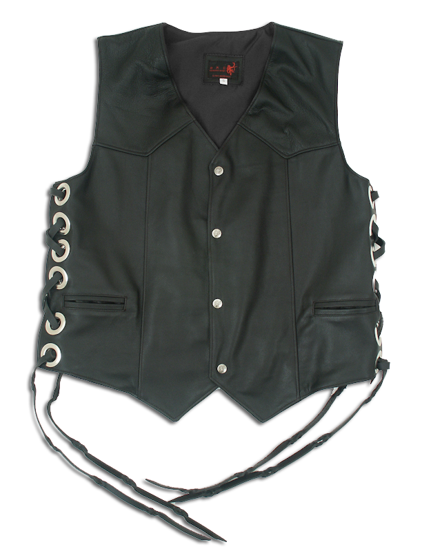 black leather vest ZGACHDQ