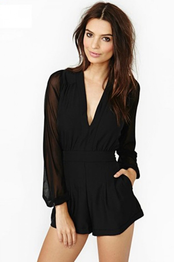 black long sleeve romper black mesh long sleeve sexy club romper ADEEBCD