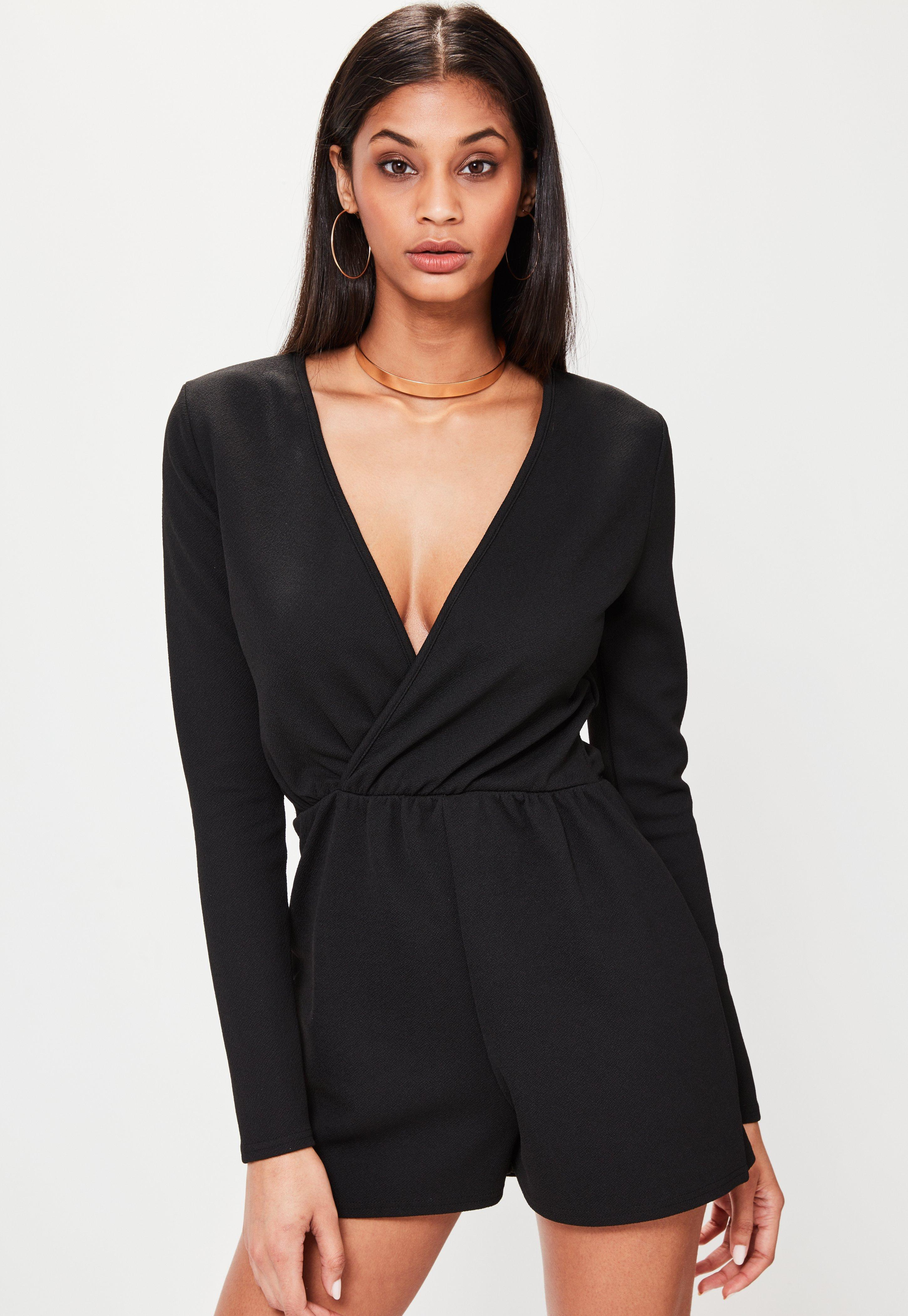 black long sleeve romper petite black crepe long sleeve wrap romper | missguided FZVATZL