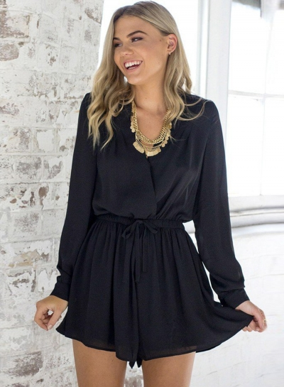black long sleeve romper womenu0027s solid v neck long sleeve romper novashe.com NWGYHRN