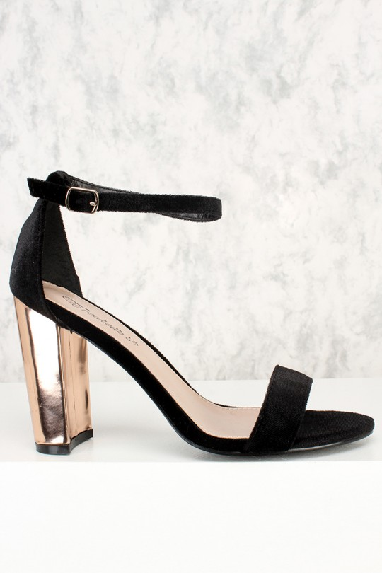 black open toe heels black open toe single sole metallic chunky high heels faux velvet ANPZHLB