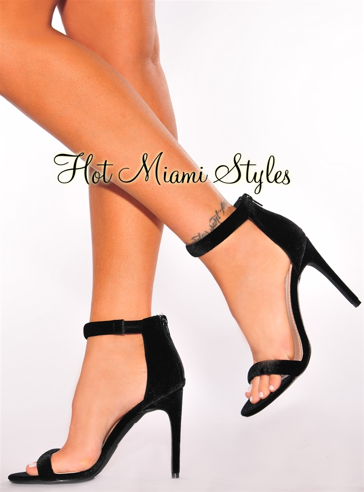 black open toe heels black velvet open toe high heels IRTXPIW