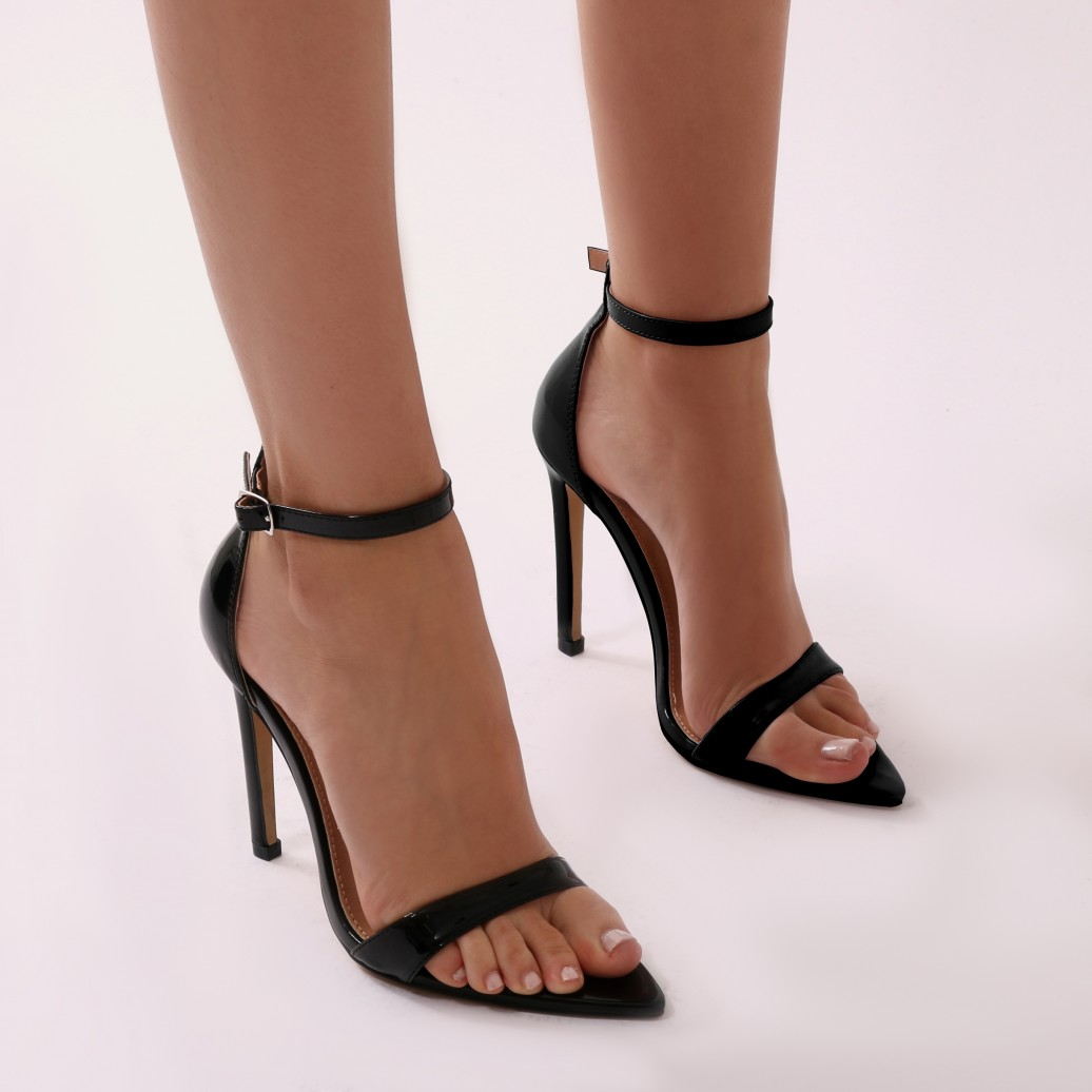 black patent heels ace pointed barely there heels in black patent ZCZWYGA