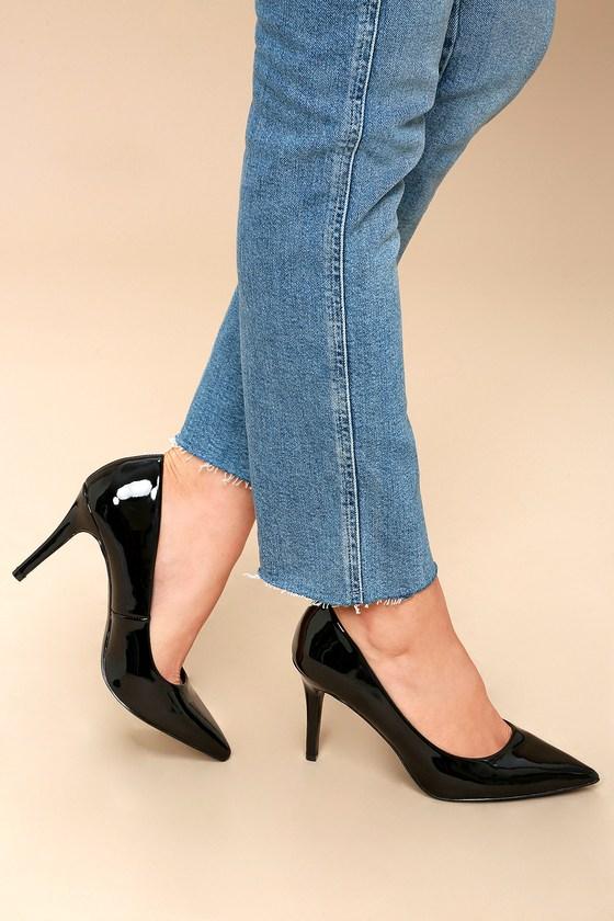 black patent heels dulcie black patent pumps SNHDTIN