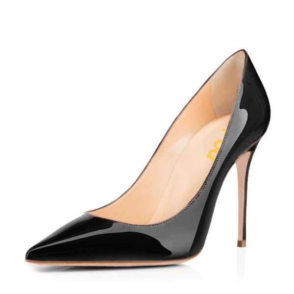 black patent heels womenu0027s black dress shoes pointy toe patent leather stiletto heels image ... ONVMJCH