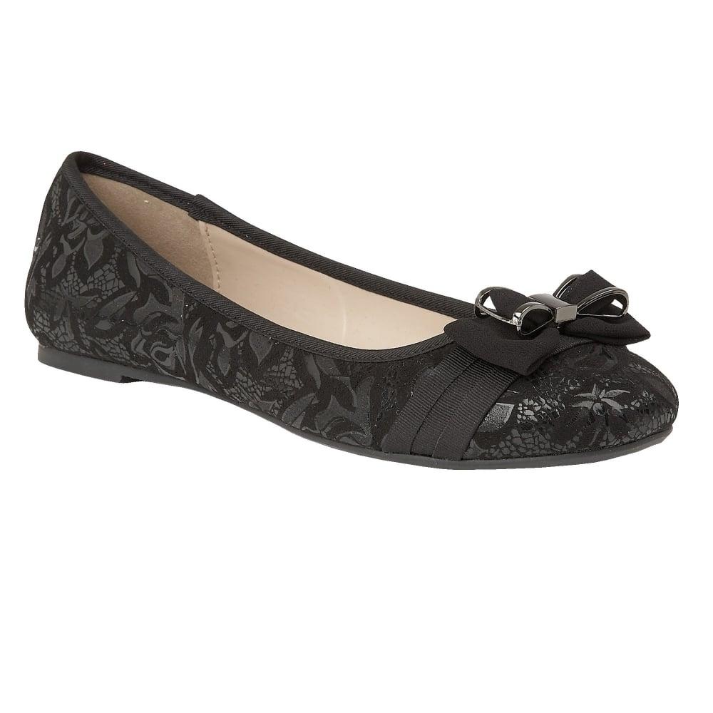 black peaky floral printed ballerina shoes | lotus XHLTFDI
