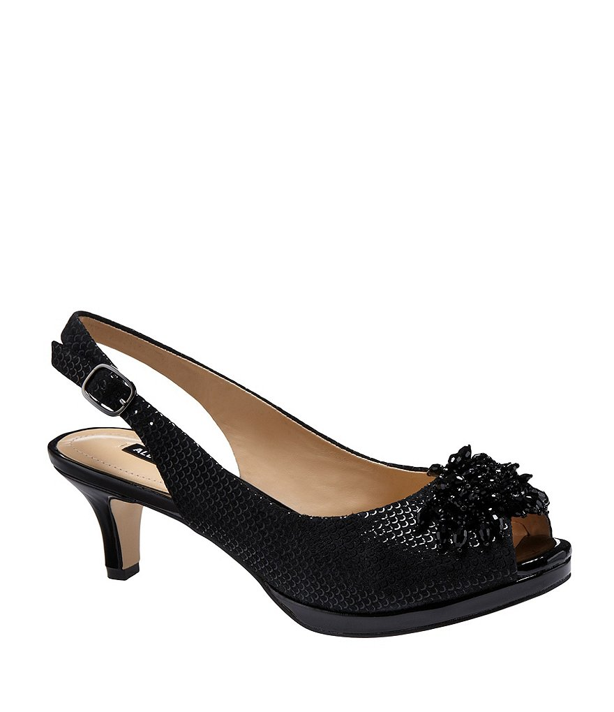 Black Peep Toe Pumps alex marie marla metallic suede beaded accent peep-toe pumps JQRUTUJ