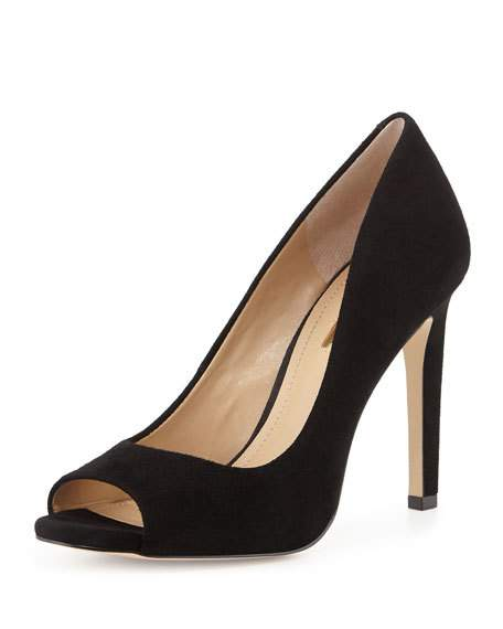Black Peep Toe Pumps bcbgeneration chique suede peep-toe pump, black ALZBJMI