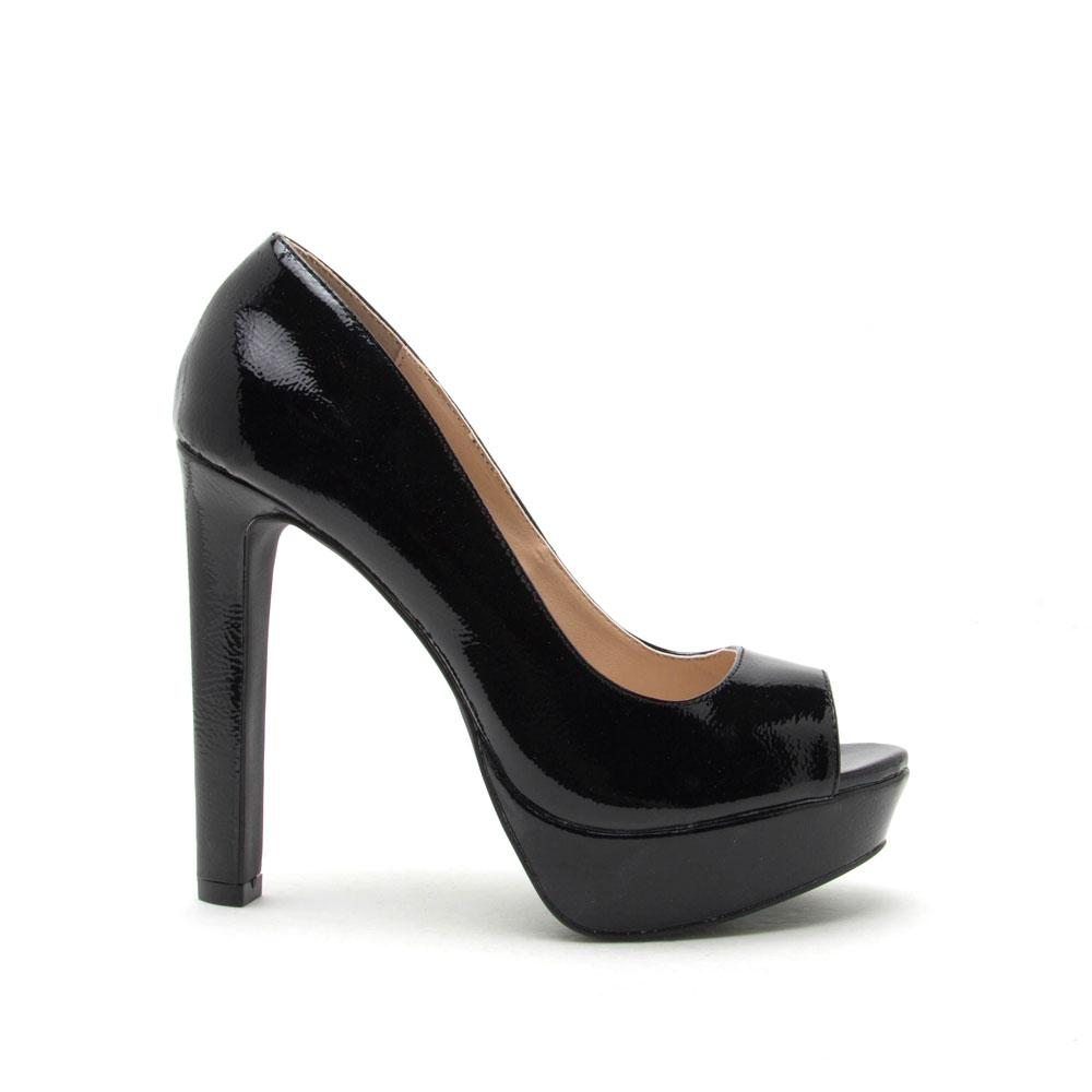 Black Peep Toe Pumps bello-05 black patent peep toe pump TONXGCS