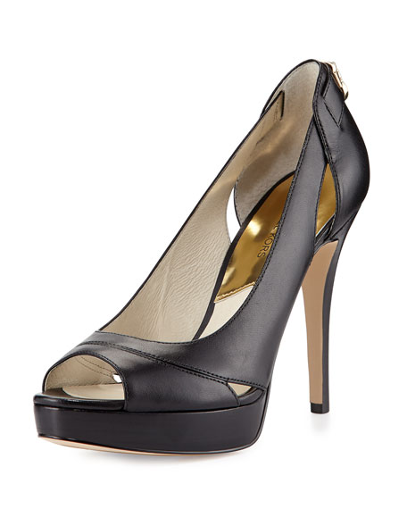 Black Peep Toe Pumps hamilton leather open-toe pump, black VWDJAOV
