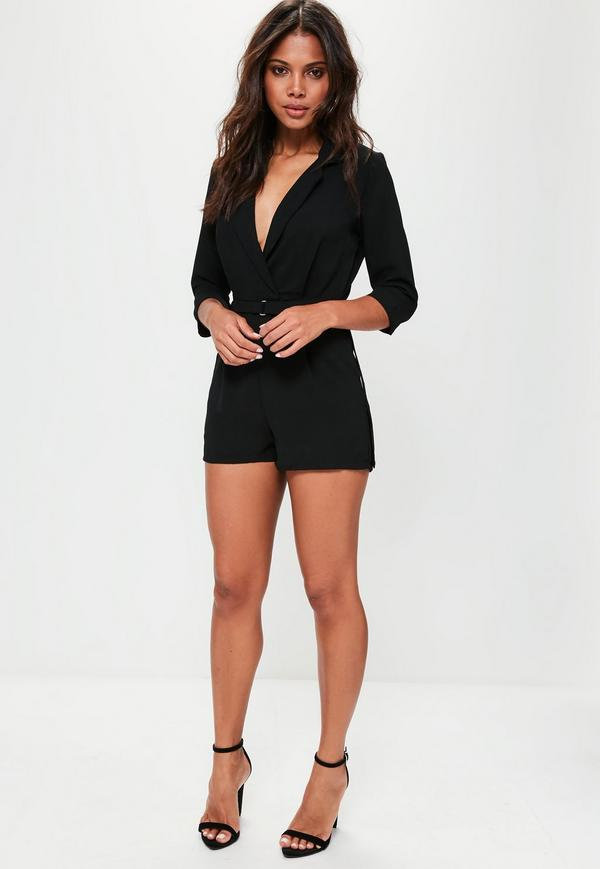 black playsuit black wrap blazer playsuit RBMTEKI