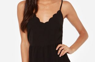 black rompers walk this wave scalloped black romper UOTPEAX