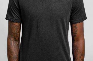 Black Shirts charcoal triblend crew - blank menu0027s t-shirt RCYHYZD