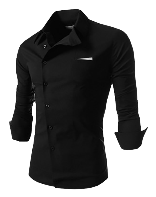 Black Shirts novel turn-down collar black shirt CJSINEE
