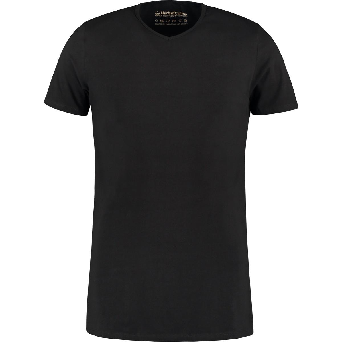 Black Shirts zwart t-shirt extra lang v-hals HCBEKEF