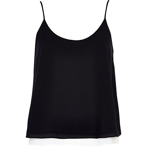 Black sleeveless top black and white pleated hem cami top - cami / sleeveless tops - tops - XRUNVMN