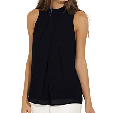 Black sleeveless top efinny women summer chiffon sleeveless blouse tank shirt black s CJLZTFY