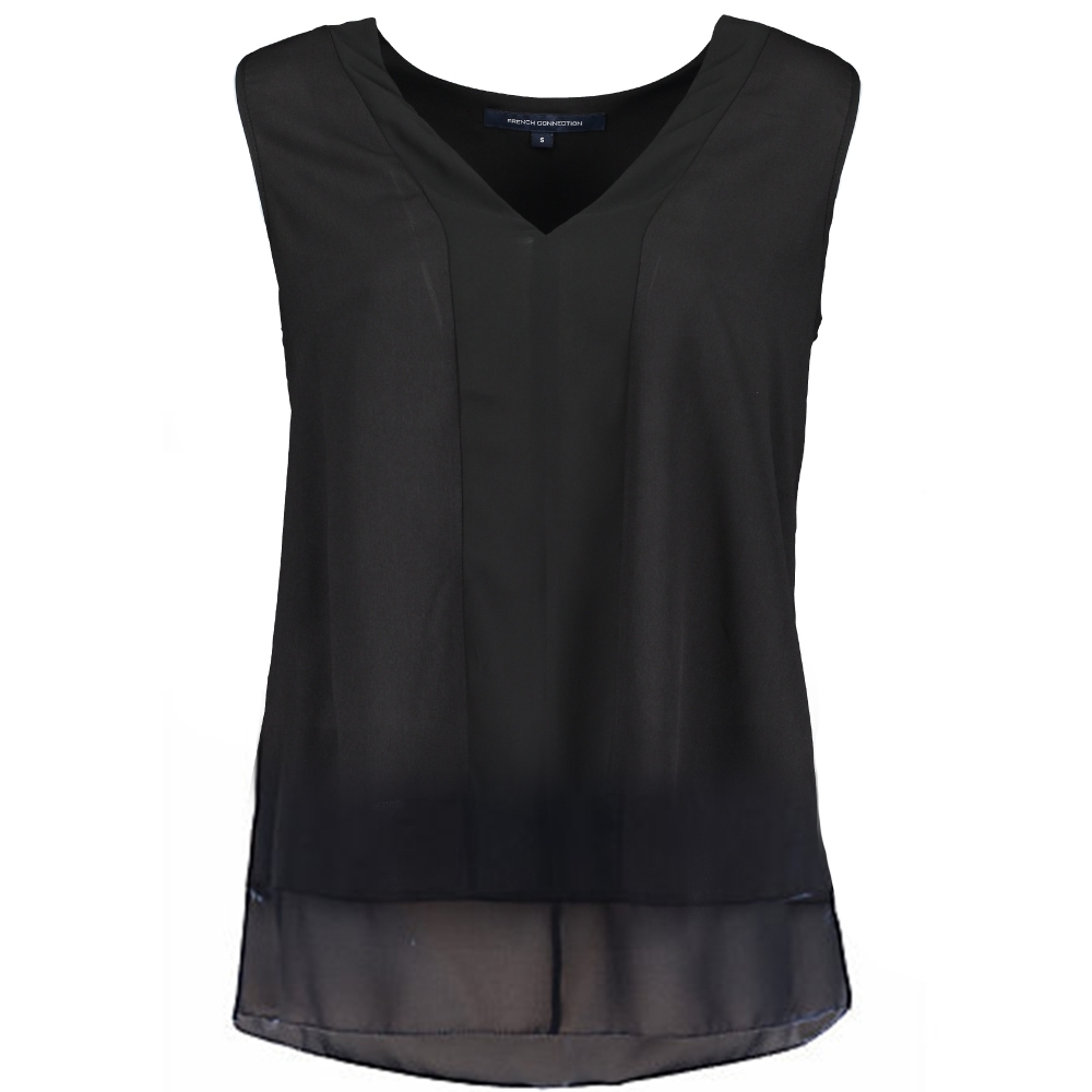 Black sleeveless top french connection classic crêpe sleeveless top - black QPXABIS