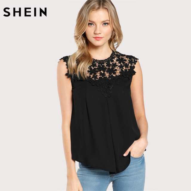 Black sleeveless top shein keyhole back daisy lace shoulder shell top summer sexy womens tops  and blouses DTSGXLH