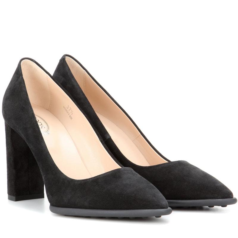 black suede heels todu0027s black suede block heel pumps YICQPMT