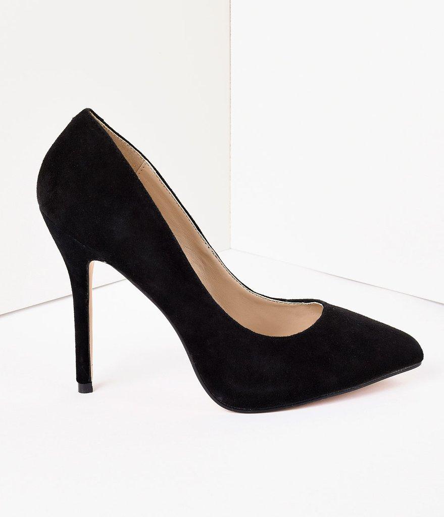 black suede heels ... vintage style black suede amuse heels ... XJNKHAJ