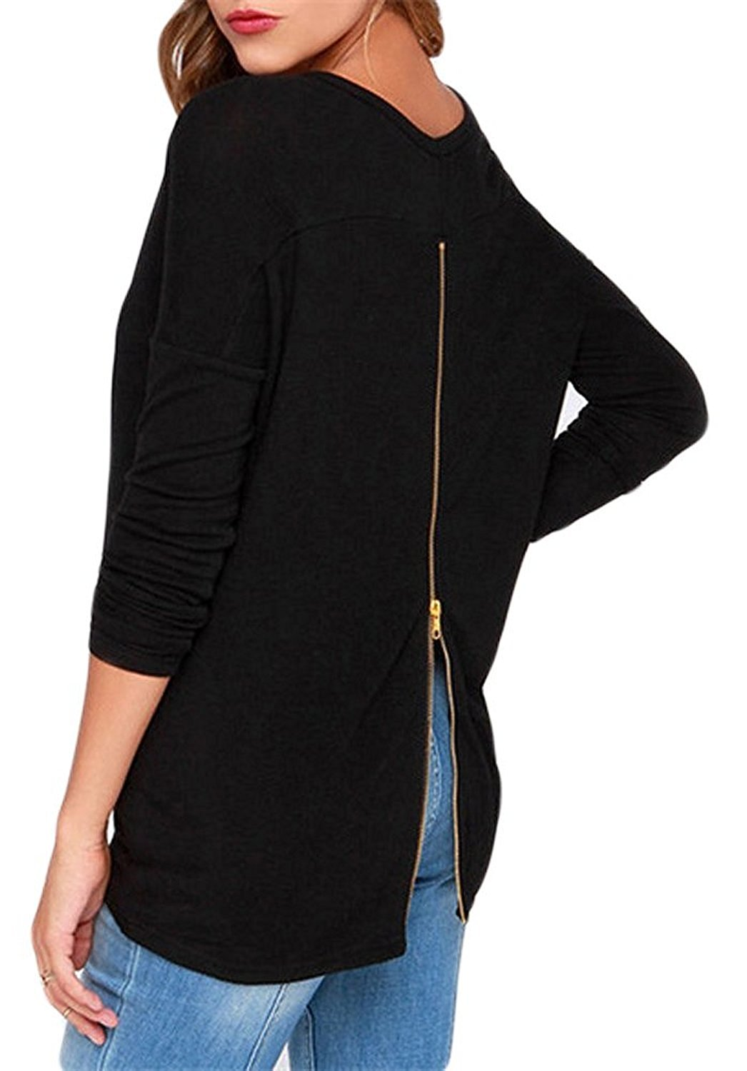 black tops for women halife womenu0027s round neck long sleeve back zipper t-shirt tops at amazon  womenu0027s clothing VJUADLB