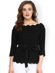 black tops for women sassafras black scalloped top DIHQMYN
