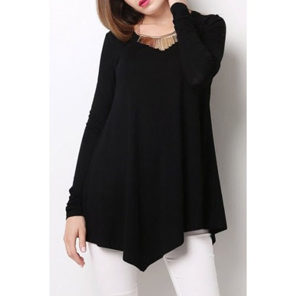 black tops for women ... stylish scoop neck long sleeve black loose-fitting t-shirt for women -  black ... RJPSBFP