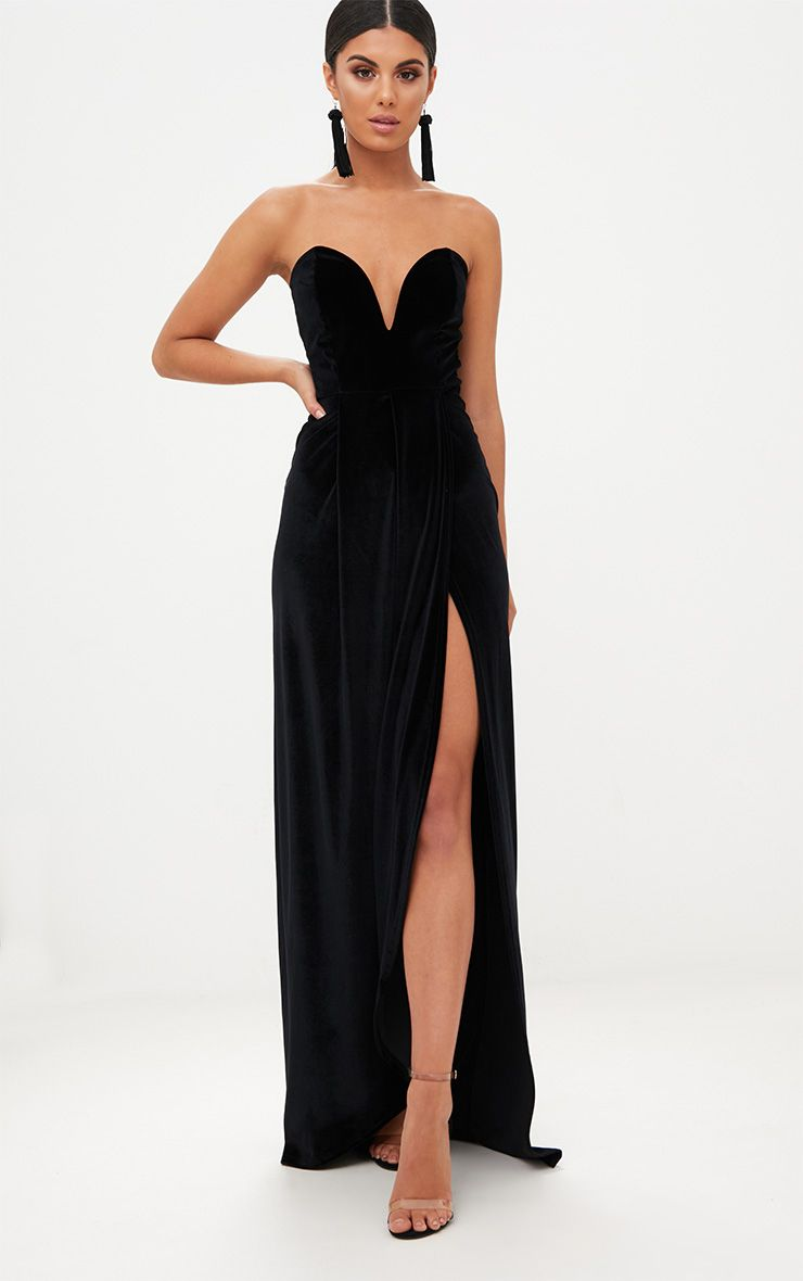 black velvet draped wrap detail bandeau maxi dress 1 EPOGBSN