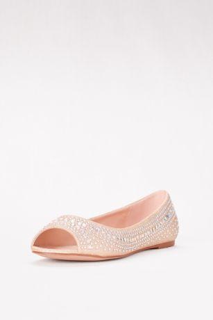 blossom beige (embellished peep toe flats) KEFTIFE