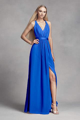 blue dresses long sheath tank dress - white by vera wang NAPETWZ