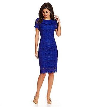 blue dresses preston u0026 york felicia short sleeve lace sheath dress RPDRCKY
