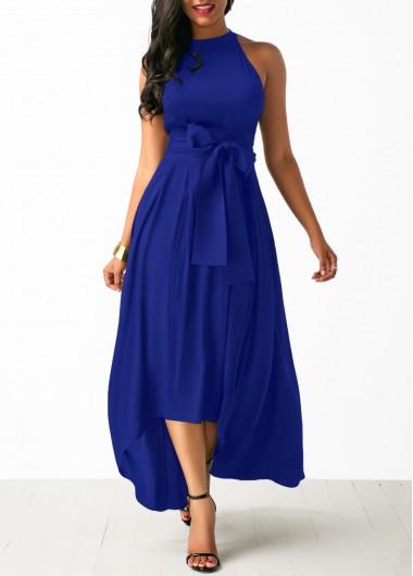 blue dresses royal blue belted asymmetric hem dress and cardigan SHFGZXS