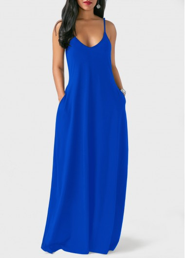 blue dresses royal blue spaghetti strap maxi dress | linkshe.com - usd $30.00 DKUTCTV