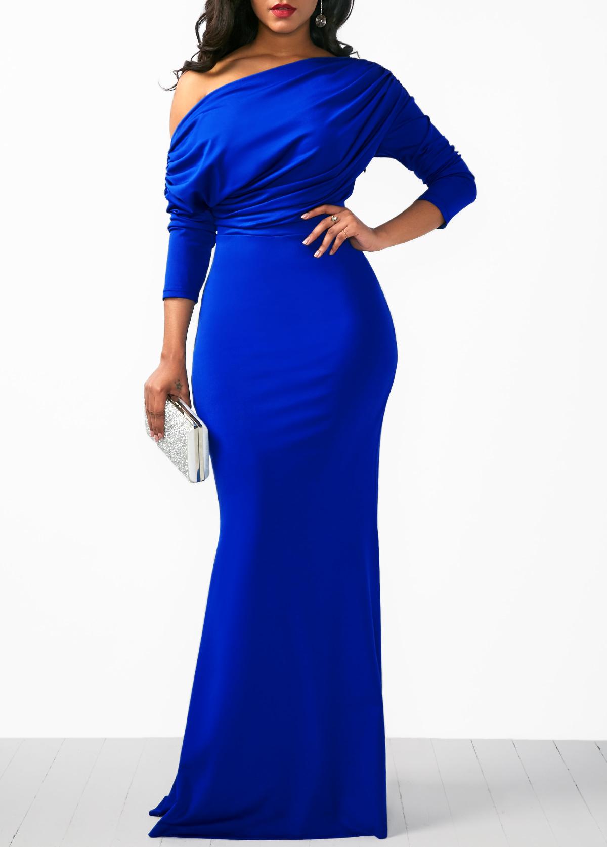 blue dresses three quarter sleeve blue mermaid dress SVXSVRY