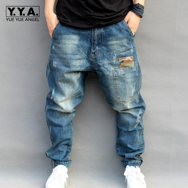 blue hole ripped baggy jeans men hip hop streetwear skateboarder denim pants  menu0027s loose NNJTAMU