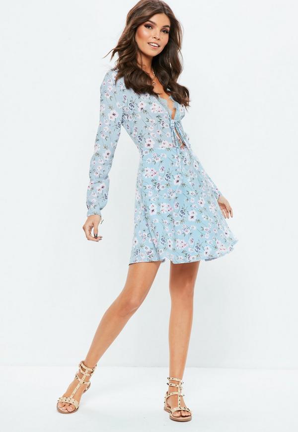 blue lace trim long sleeve skater floral dress HXQITUT